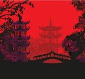 Mooi abstract Aziatisch landschap royalty-vrije illustratie