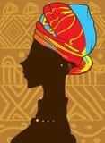 Mooi Afrikaans vrouwensilhouet Stock Afbeeldingen