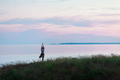 Mooi atletisch meisje die yoga doen tegen het overzees stock foto