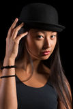Mooi Aziatisch meisje in hoed Royalty-vrije Stock Fotografie