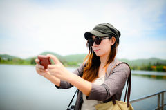 Mooi Aziatisch vrouw genomen beeld Royalty-vrije Stock Foto's