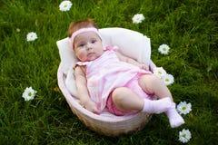Mooi babymeisje in de mand Royalty-vrije Stock Foto's