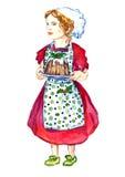 Mooi Babymeisje in witte chef& x27; s hoed, stipschort en rode kleding die en plaat met Kerstmispudding bevinden zich houden Stock Afbeelding