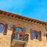 Mooi balkon in San Gimignano stock afbeelding