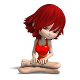 Mooi beeldverhaalmeisje in een zwempak uit één stuk Royalty-vrije Stock Foto