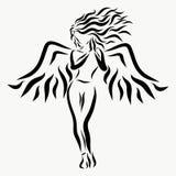 Mooi bevallig meisje met vleugels stock illustratie