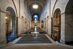 Mooi binnenland van de Kathedraal in Lund, Zweed royalty-vrije stock foto