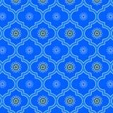 Mooi blauw monochromic verfraaid Marokkaans naadloos patroon vector illustratie