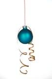 Mooi blauw ornament met lint Stock Fotografie