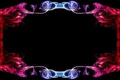 Mooi blauw-rood abstract kader van een rook Stock Fotografie