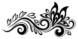 Mooi bloemenelement. Zwart-wit bloemen en bladerenontwerpelement. Bloemenontwerpelement in retro stijl. Stock Afbeeldingen
