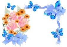 Mooi bloemenframe met rozen en bogen Royalty-vrije Stock Foto's