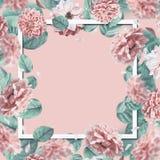 Mooi bloemenkader met dalende of vliegende roze bloemen en bladeren bij pastelkleurachtergrond royalty-vrije stock afbeelding