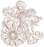 Mooi bloemenpatroon over wit Stock Afbeelding