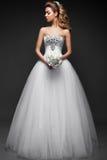 Mooi blond meisje in beeld van de bruid Het Gezicht van de schoonheid royalty-vrije stock fotografie