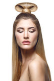 Mooi blond meisje met lang haar royalty-vrije stock afbeelding