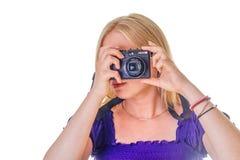 Mooi blonde die een foto nemen royalty-vrije stock foto