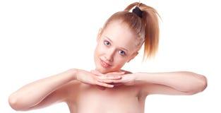Mooi blonde meisje op een witte achtergrond Royalty-vrije Stock Foto's