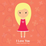 Mooi Blondemeisje voor St Valentine dag Royalty-vrije Stock Foto