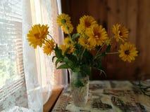Mooi boeket van gele chrysanten dichte omhooggaand stock fotografie