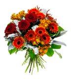 Mooi boeket van gerberas en rozen Royalty-vrije Stock Afbeeldingen