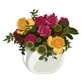 Mooi boeket van rode en gele rozen in vaas vector illustratie