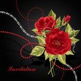 Mooi boeket van rozen met parels Stock Afbeelding
