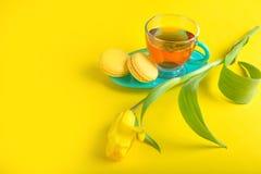 Mooi boeket van tulpen Gele makarons Royalty-vrije Stock Afbeelding