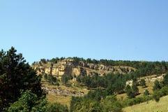 Mooi boslandschap in de bergen, majestueuze toneelmening op een zonnige dag Stock Afbeeldingen