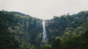 Mooi breed geschoten landschapslandschap van grote wilderniswaterval die neer in wild tropisch Sri Lanka-bos meeslepen stock video
