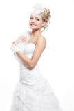 Mooi bruid blond meisje in witte huwelijkskleding Stock Afbeelding