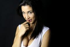 Mooi brunette met een transparante bovenkant royalty-vrije stock foto's