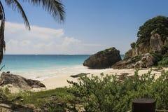 Mooi Caraïbisch strand in Yucatan Mexico royalty-vrije stock foto