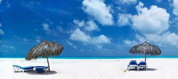 Mooi Caraïbisch strandpanorama Royalty-vrije Stock Fotografie