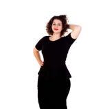 Mooi curvy meisje met zwarte kleding en rode lippen royalty-vrije stock foto's