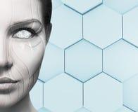 Mooi cyborg vrouwelijk gezicht Het concept van de technologie royalty-vrije stock fotografie