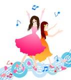 Mooi dansend meisje twee royalty-vrije illustratie