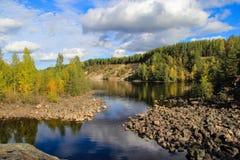 Mooi de herfstbos bij de rivierenkust Karelië Stock Foto
