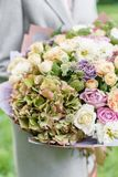 Mooi de lenteboeket in handen gevoelig bloemstuk met roze en groene kleurenbloemen gazon op achtergrond royalty-vrije stock foto's