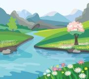 Mooi de lentelandschap stock illustratie