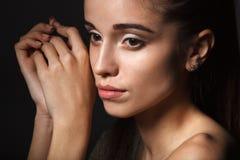 Mooi de vrouwenportret van de close-up Stock Foto's