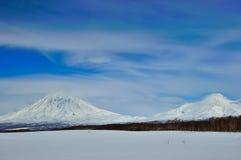 Mooi de winter vulkanisch landschap Stock Foto