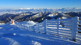 Mooi de winterlandschap in de Karpaten Stock Foto
