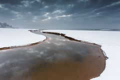 Mooi de winterlandschap in Jelitkowo in Gdansk royalty-vrije stock afbeeldingen