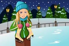 Mooi de wintermeisje stock illustratie