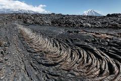 Mooi de zomer vulkanisch landschap van het Schiereiland van Kamchatka Stock Fotografie
