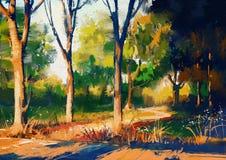 Mooi de zomerbos bij zonsondergang vector illustratie