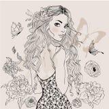 Mooi de zomermeisje vector illustratie