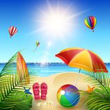 Mooi de zomerstrand stock illustratie