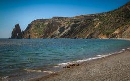 Mooi de zomerzeegezicht De Krim, Kaap Fiolent, Stock Fotografie